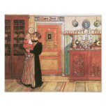 Mother Holding Baby in the Kitchen Poster