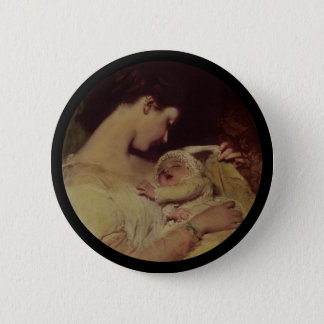Mother Holding Baby Pinback Button