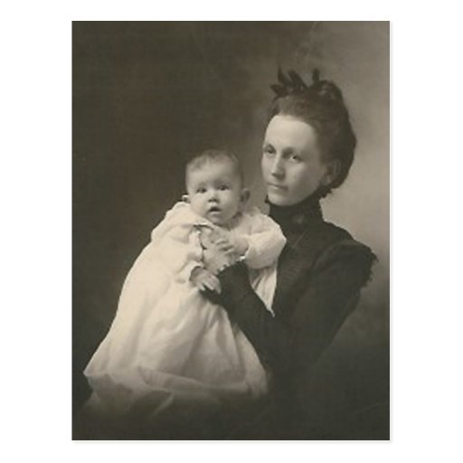 mother holding baby post card