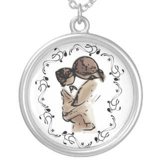 Mother Holding Her Child Silver Plated Necklace Chain length: 18