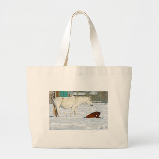 Mother Horse and Baby in Snow Canvas Bag