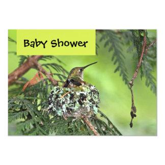 "Mother Hummingbird Baby Shower 5"" X 7"" Invitation Card"