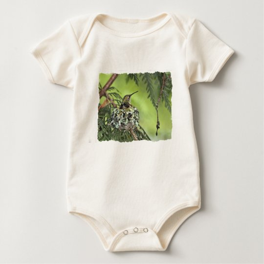 Mother Hummingbird on Nest Baby Bodysuit