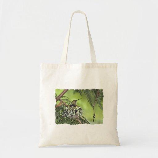 Mother Hummingbird on Nest Budget Tote Bag