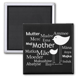 Mother in different languages 2 inch square magnet