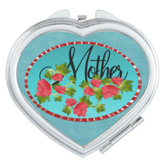 Mother in Heart with Flowers Mirrors For Makeup