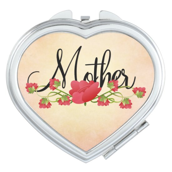 Mother in Heart with Spring Flowers Compact Mirror