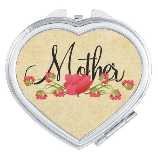 Mother in Heart with Spring Flowers Mirror For Makeup