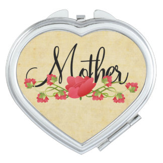 Mother in Heart with Spring Flowers Vanity Mirror