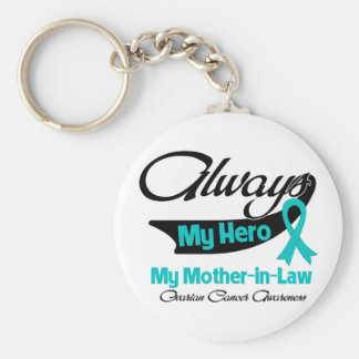 Mother-in-Law - Always My Hero - Ovarian Cancer Keychains