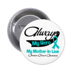 Mother-in-Law - Always My Hero - Ovarian Cancer Pinback Button