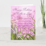 "Mother in Law Birthday Card - Pink Feminine Floral<br><div class=""desc"">Mother in Law Birthday Card - Pink Feminine Floral With Verse</div>"