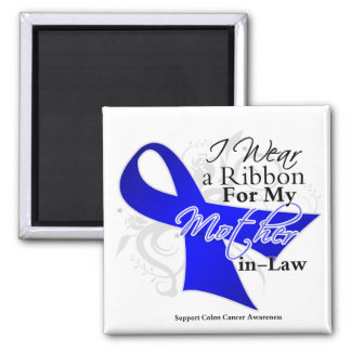Mother-in-Law  Blue Ribbon - Colon Cancer 2 Inch Square Magnet