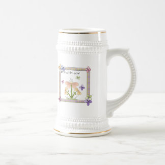 Mother-In-Law Butterfly Flower Mothers Day Gifts 18 Oz Beer Stein