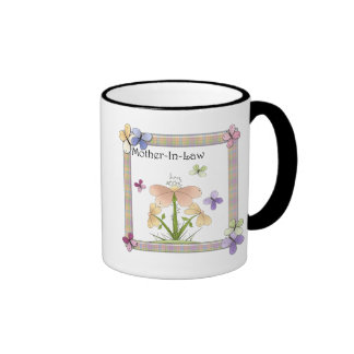 Mother-In-Law Butterfly Flower Mothers Day Gifts Ringer Coffee Mug
