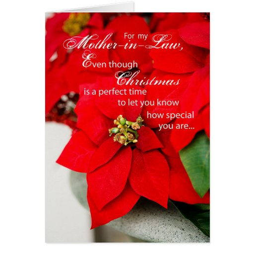 Mother-in-Law Christmas Poinsettia Greeting Card | Zazzle