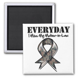 Mother-in-Law - Everyday I Miss My Hero Military 2 Inch Square Magnet