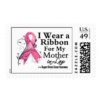 Mother-in-Law Floral Ribbon - Breast Cancer Postage Stamps