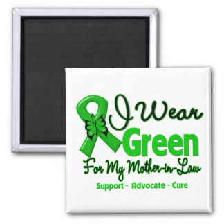Mother-in-Law - Green  Awareness Ribbon 2 Inch Square Magnet