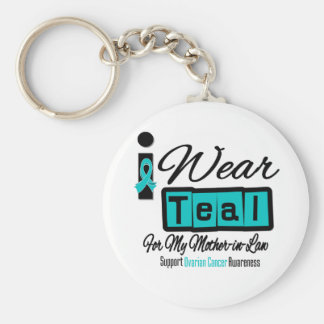 Mother-in-Law - I Wear Teal Retro Ovarian Cancer Keychain