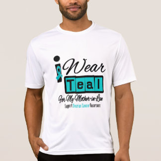 Mother-in-Law - I Wear Teal Retro Ovarian Cancer T Shirt