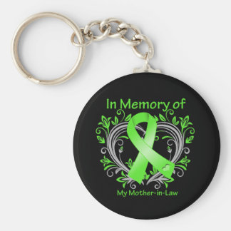 Mother-in-Law - In Memory Lymphoma Heart Keychain
