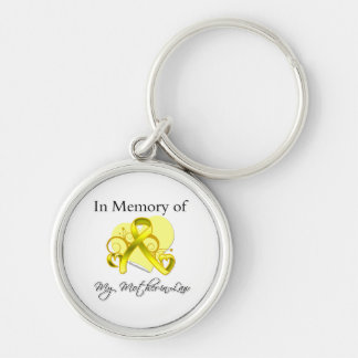 Mother-in-Law - In Memory of Military Tribute Silver-Colored Round Keychain