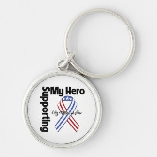 Mother-in-Law - Military Supporting My Hero Silver-Colored Round Keychain