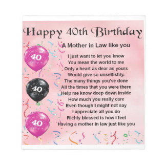 Mother in Law Poem - 40th Birthday Notepad