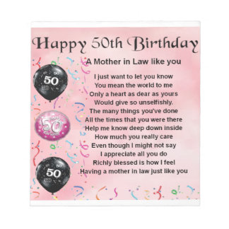 Mother in Law Poem  -  50th Birthday Notepad