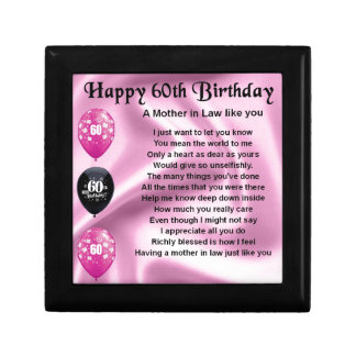 Mother in Law Poem - 60th Birthday Keepsake Box