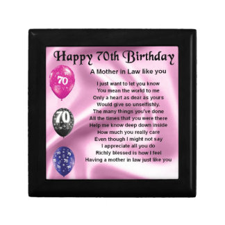 Mother in Law Poem - 70th Birthday Jewelry Box