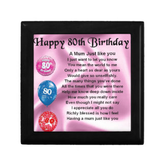Mother in Law Poem - 80th Birthday Jewelry Box