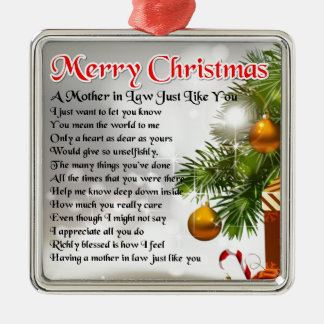 Mother in Law Poem - Christmas design Square Metal Christmas Ornament