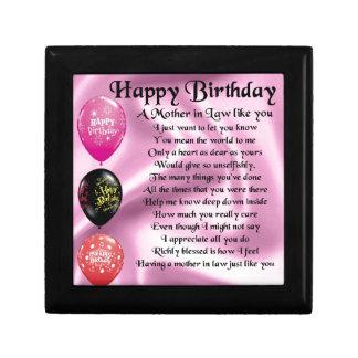 Mother in Law Poem  -  Happy Birthday Trinket Box