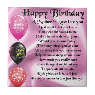 Mother in Law Poem  -  Happy Birthday Small Square Tile
