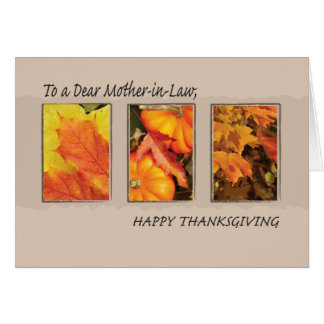 Mother-in-Law Religious Three Leaves Thanksgiving Card