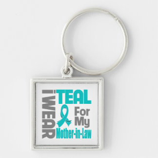 Mother-in-Law - Teal Ribbon Ovarian Cancer Support Keychain