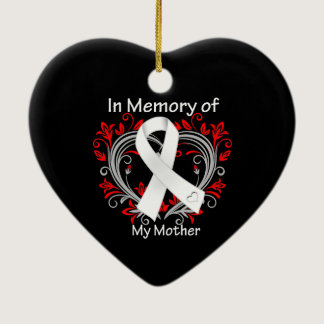 Mother - In Memory Lung Cancer Heart Ceramic Ornament