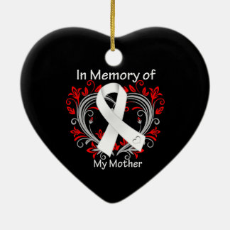 Mother - In Memory Lung Cancer Heart Double-Sided Heart Ceramic Christmas Ornament