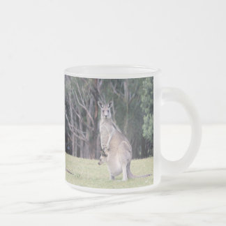 Mother Kangaroo with Baby Joey in Her Pouch Frosted Glass Coffee Mug