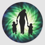 Mother & Kids; Cool design Round Stickers