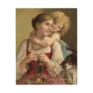 Mother Knitting with her Daughter Wood Wall Art