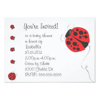 Mother Ladybug and Baby Ladybug Baby Shower Invit Card