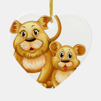 Mother lion and little cub ceramic ornament