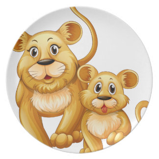 Mother lion and little cub melamine plate