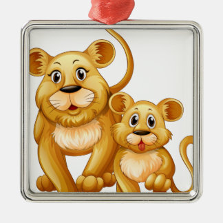 Mother lion and little cub metal ornament