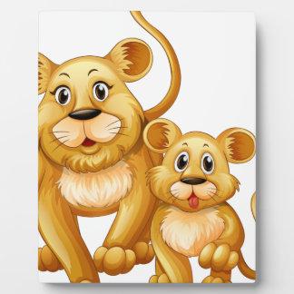 Mother lion and little cub plaque
