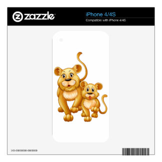 Mother lion and little cub skin for iPhone 4