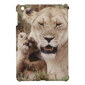 Mother lion sitting with her cub iPad mini cases